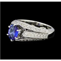 1.40 ctw Blue Sapphire And Diamond Ring - 18KT White Gold