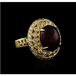 14KT Yellow Gold 9.58 ctw Ruby and Diamond Ring