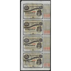 Uncut Sheet of (4) State of Louisiana Baby Bond Obsolete Notes