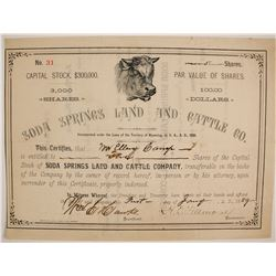 Soda Springs Land and Cattle Company Stock  (87921)