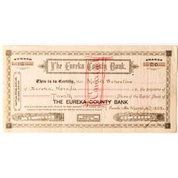 Two Banking Stock Certificates Eureka County Bank Stock Certificate, 1888 to Prominent Reno Banker