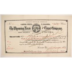 Wyoming Loan and Trust Company Stock - NUMBER 1  (87923)