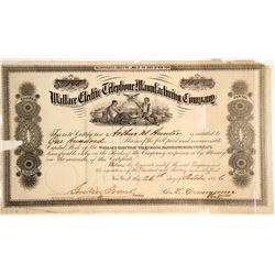 Wallace Electric Telephone Manufacturing Company Stock Certificate  (60935)