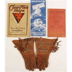 Boy Scouts Ephemera and Boys Leather Scout Gloves  (88335)