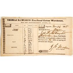 1838 Receipt for Thomas Dawson's Fire-Proof Cotton Warehouse  (60063)