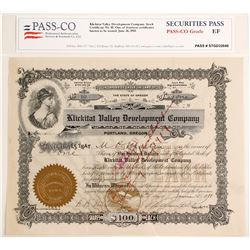 Klickitat Valley Development Company Stock Certificate, 1911  (60048)