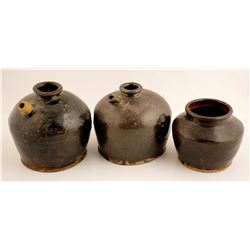 Chinese Soy sauce Pots & A Preserve Jar / 3 Items.  (78825)