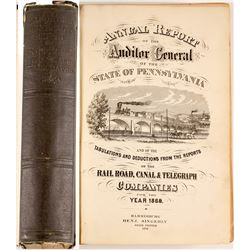 Auditor's Report on RailRoads, Canals and Telegraphs 1869  (52232)