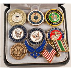 Nine US Military and Related Lapel Pins  (88643)