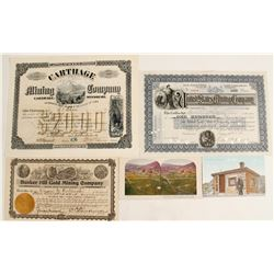 Mining Stock & Ephemera Lot with Rare Missouri Mining Company (3 count)  (62268)