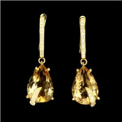 Natural Pear Cut 15x10mm Yellow Citrine Earrings
