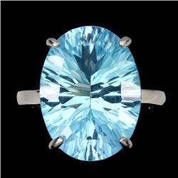 Natural Concave 16x12mm Blue Topaz Ring