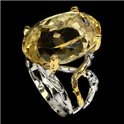 Natural 19x13 mm Top Rich Yellow Citrine Ring