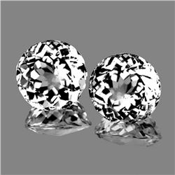 Natural White Topaz Pair 9.00 MM {Flawless-VVS1}