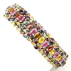 Natural 6x4 mm Fancy Sapphire Ruby 239 Ct Bracelet