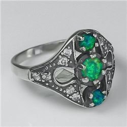 SENSATIONAL 2.5 CT GREEN OPAL SOLID SILVER RING.