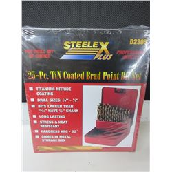 "New Drill Bit set 25 piece Brad Point for Woodworking 1/8 to 1/2"" comes with"