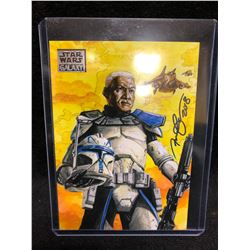 "STAR WARS GALAXY ""CAPTAIN REX SURVEYS THE BATTLEFIELD"" TOPPS BY ANIL SHARMA"