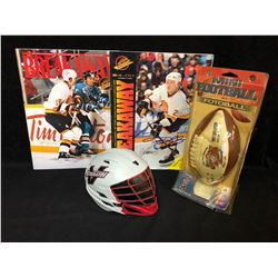 SPORTS FAN COLLECTIBLES LOT( SIGNED PROGRAMS, BANK)