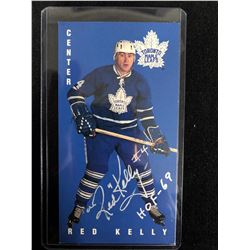 RED KELLY AUTOGRAPHED TALL BOY HOCKEY CARD
