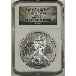 2014 (W) AMERICAN SILVER EAGLE NGC MS 70