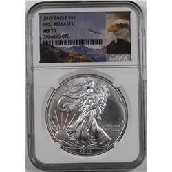 2015 (W) AMERICAN SILVER EAGLE NGC MS 70