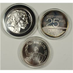 (3) 1 OZ. .999 SILVER ROUNDS.