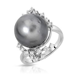 14KT White Gold 15.88ct Tahitian Pearl and Diamond Ring