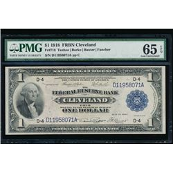 1918 $1 Cleveland Federal Reserve Note PMG 65EPQ