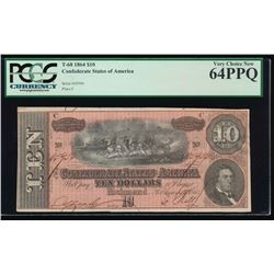1864 $10 Confederate States of America Note PCGS 64PPQ
