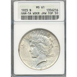 1923 $1 Peace Silver Dollar Coin ANACS MS61
