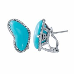 14KT White Gold 8.34ctw Turquoise and Diamond Earrings