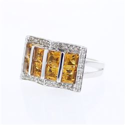 18KT White Gold 2.55ctw Citrine and Diamond Ring