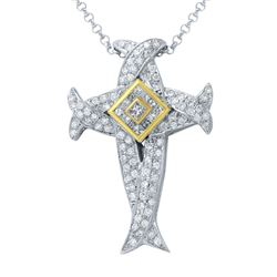 18KT Two Tone Gold 1.46ctw Diamond Pendant with Chain