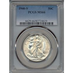 1946-S Walking Liberty Half Dollar Coin PCGS MS66