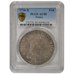 1716-X Louis XV ECU Coin PCGS AU50