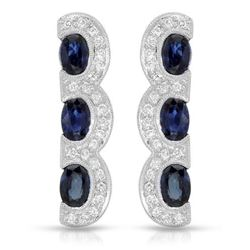 18KT White Gold 3.40ctw Blue Sapphire and Diamond Earrings