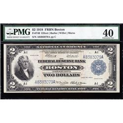 1918 $2 Boston Federal Reserve Bank Note PMG 40