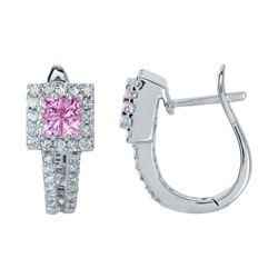 14KT White Gold 0.57ctw Pink Sapphire and Diamond Earrings
