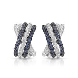 14KT White Gold 0.75ctw Blue Sapphire and Diamond Earrings