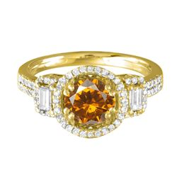 14KT Yellow Gold 2.11ct Citrine and Diamond Ring