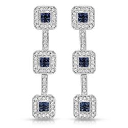 14KT White Gold 1.18ctw Blue Sapphire and Diamond Earrings