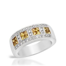 14KT White Gold 0.71ctw Yellow Sapphire and Diamond Ring