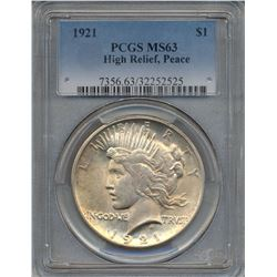 1921 $1 Peace Silver Dollar Coin PCGS MS63