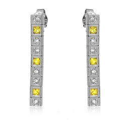 14KT White Gold 0.52ctw Yellow Sapphire and Diamond Earrings