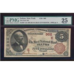 1882 $5 Fulton National Bank Note PMG 25