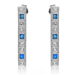14KT White Gold 0.53ctw Blue Sapphire and Diamond Earrings