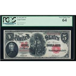 1907 $5 Legal Tender Note PCGS 64