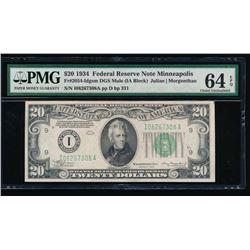 1934 $20 Minneapolis Federal Reserve Note PMG 64EPQ