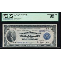 1918 $1 New York Federal Reserve Bank Note PCGS 58